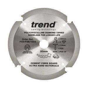 Trend PCD/FSB/1604 Cement Fibre Board Saw Blade 160mm x 20mm x 4 Teeth