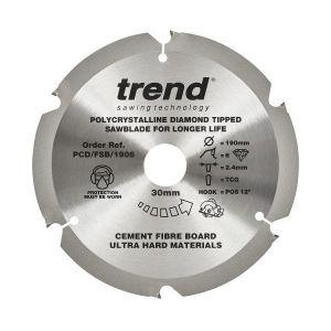 Trend PCD/FSB/1906 Cement Fibre Board Saw Blade 190mm x 30mm x 6 Teeth