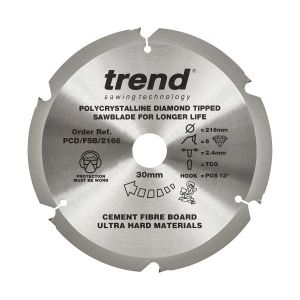 Trend PCD/FSB/2166 Cement Fibre Board Saw Blade 216mm x 30mm x 6 Teeth