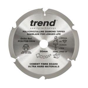 Trend PCD/FSB/2506 Cement Fibre Board Saw Blade 250mm x 30mm x 6 Teeth