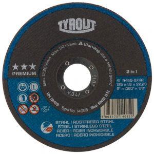 Tyrolit 34332794 125mm x 1.6mm Premium 2 in 1 Flat Metal Cutting Discs 14085